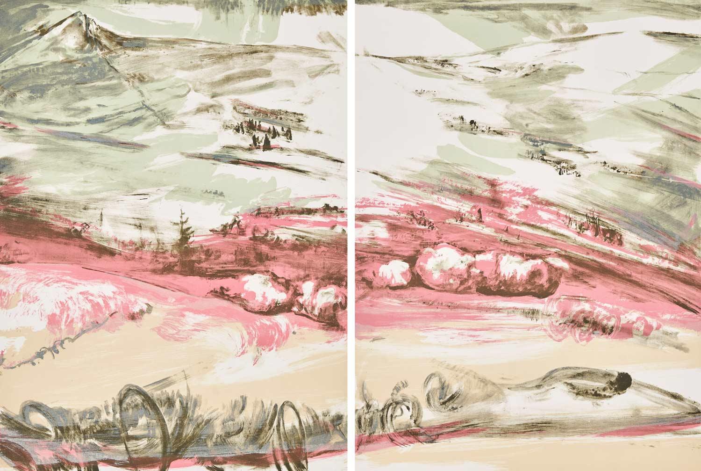 Das Bild zeigt die Elbwiese. Im Bildvordergrund ist in Pastelltönen der Lauf skizziert. Im Bildmittelgrund bilden Rosatöne die hügelige Landschaft ab, durchbrochen durch dunkle Abschnitte mit Baum- und Strauchbewuchs. Ab der Bildmitte erheben sich in türkiesen Farben stilistisch Ausläufer des Riesengebirges.