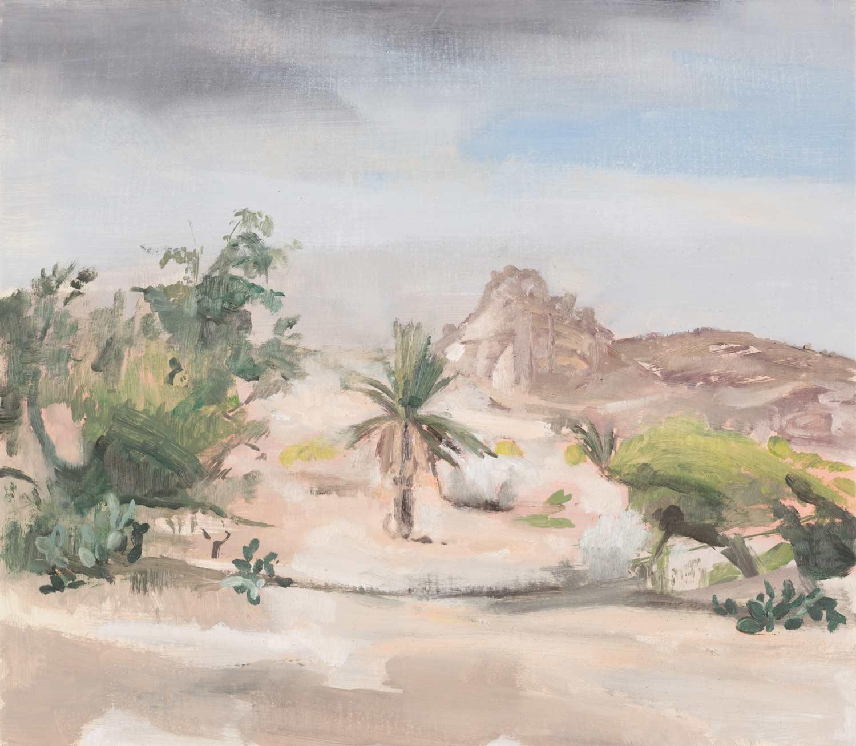 Den Bildmittelpunkt bildet eine Palme vor dem Hintergrund des Antiatlas in Marokko vor blassblauem Himmel. Sie ist im Bildmittelgrund von mattgrünen Strauchbewuschs begleitet. Sonst beherrschen Pastell- und Ockertöne die Szene.